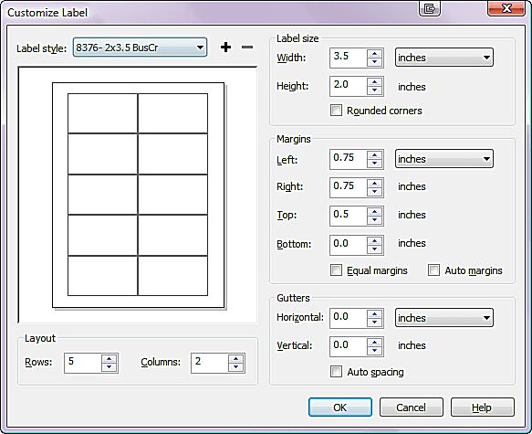 CorelDRAW Custom Labels Dialog Box