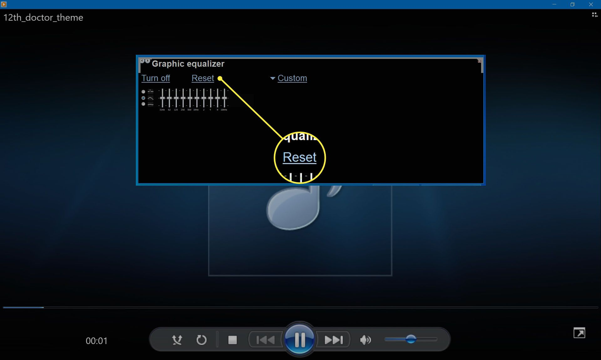 Selecting Reset to reset equalizer sliders in Windows Media Player.