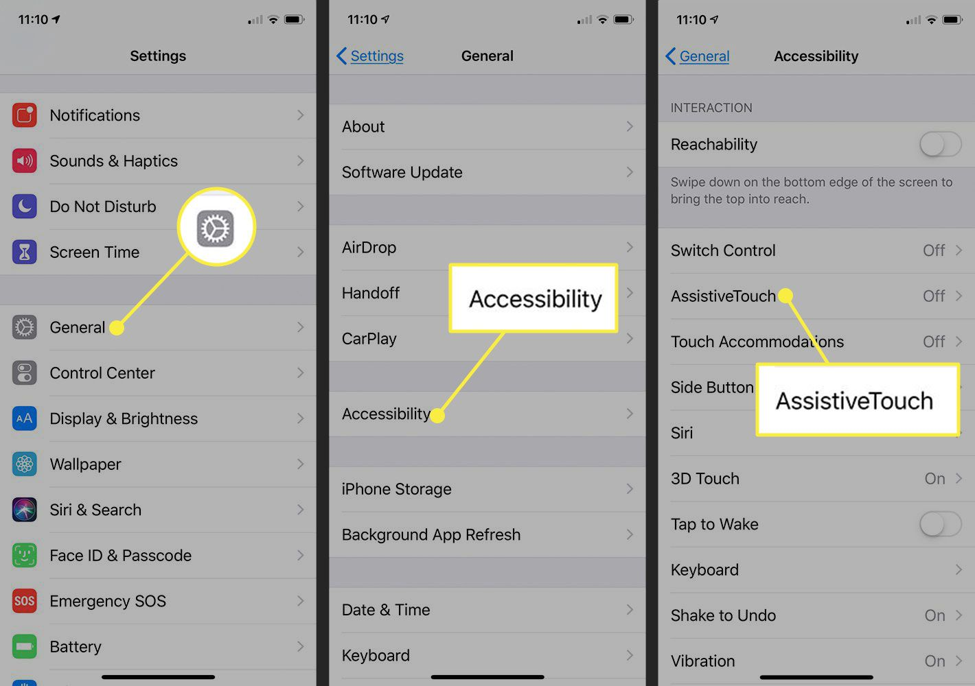 Screenshots of iPhone settings with the General, Accessibility, and AssistiveTouch options highlighted