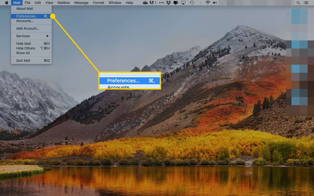 Mail in macOS with the Preferences menu option highlighted