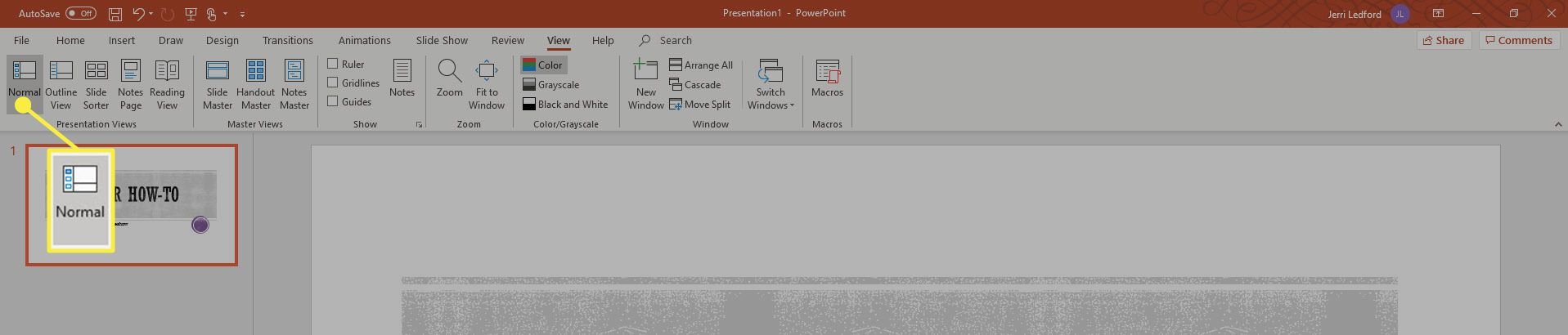 The Normal View in PowerPoint.