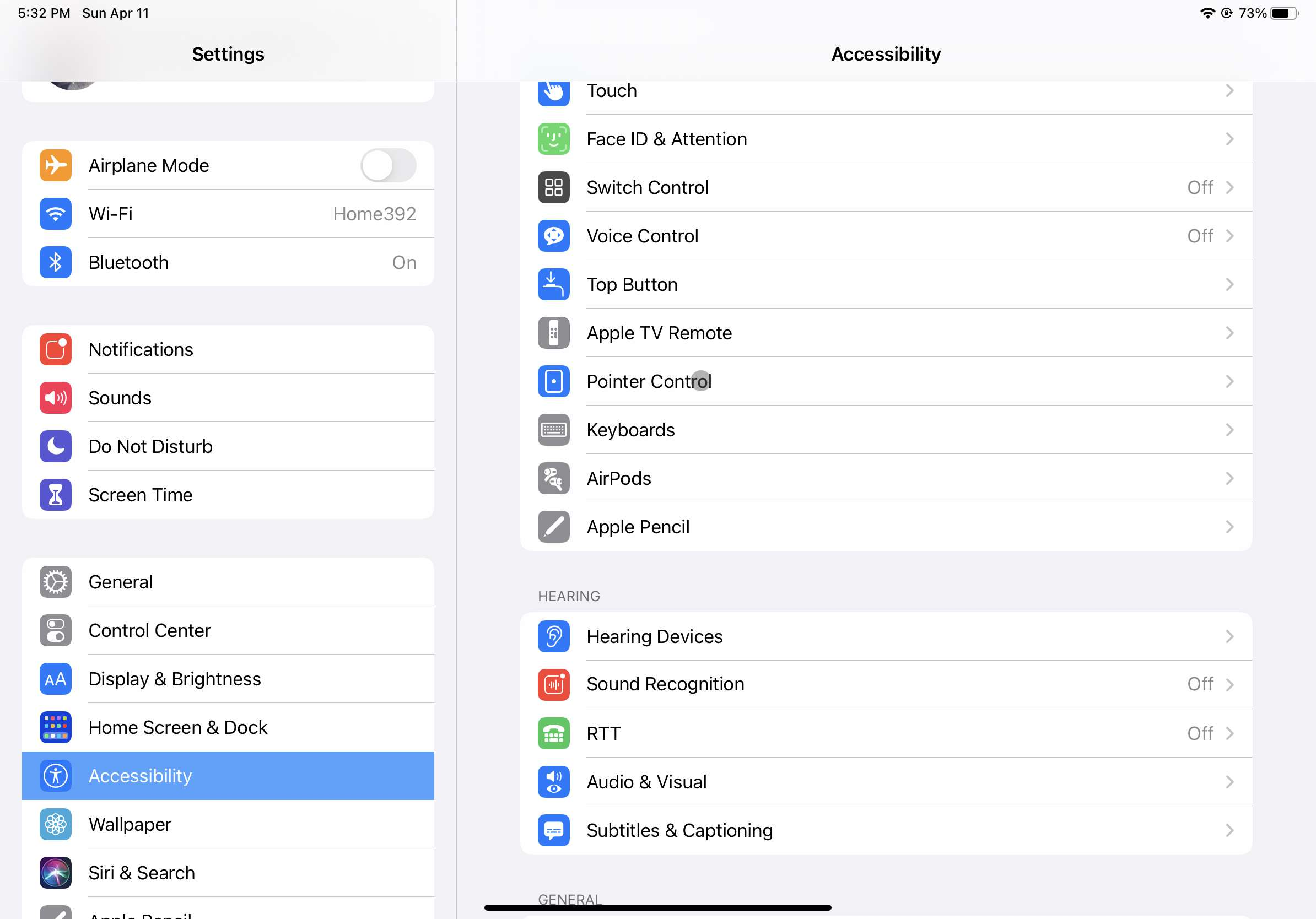 Screenshot of the iPad Accessibility menu