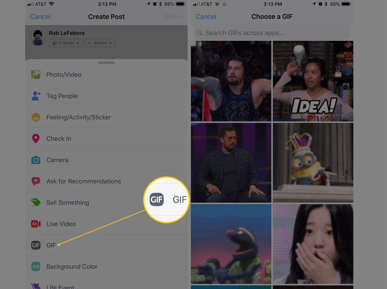 Screenshot of GIF interface in Facebook iOS app
