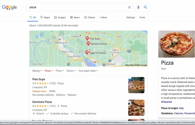Food listings in Google