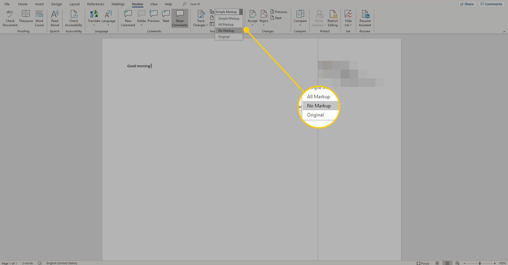 Word document with the No Markup option highlighted