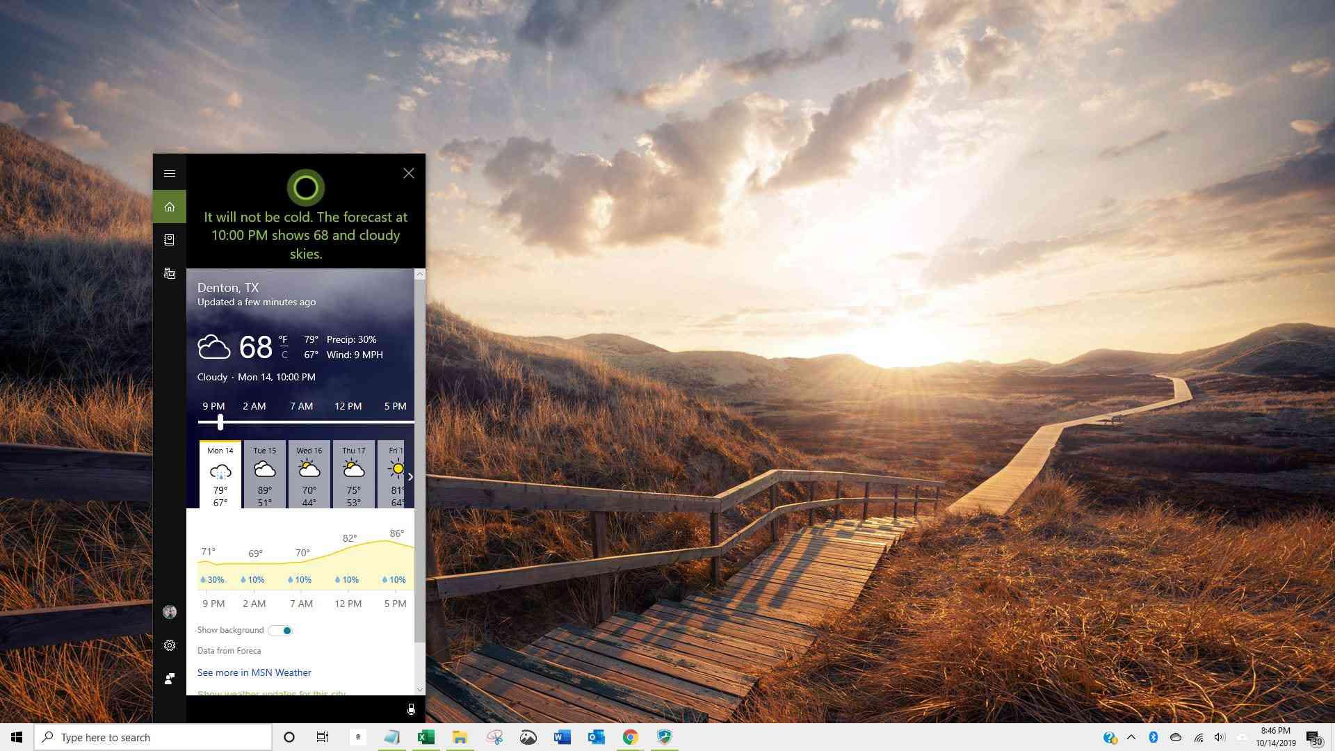 Screenshot of Cortana answering