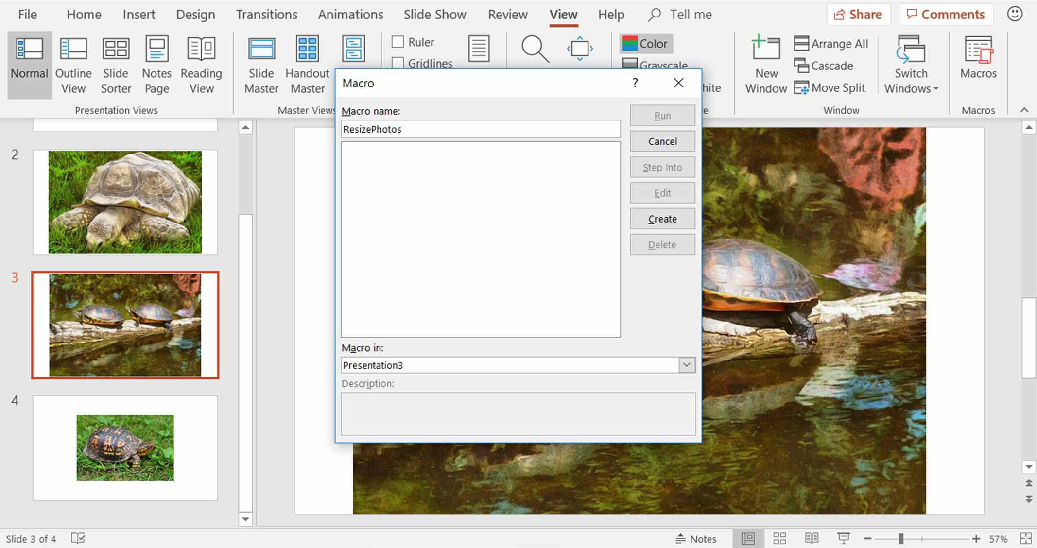 A screenshot showing how to name a macro in PowerPoint