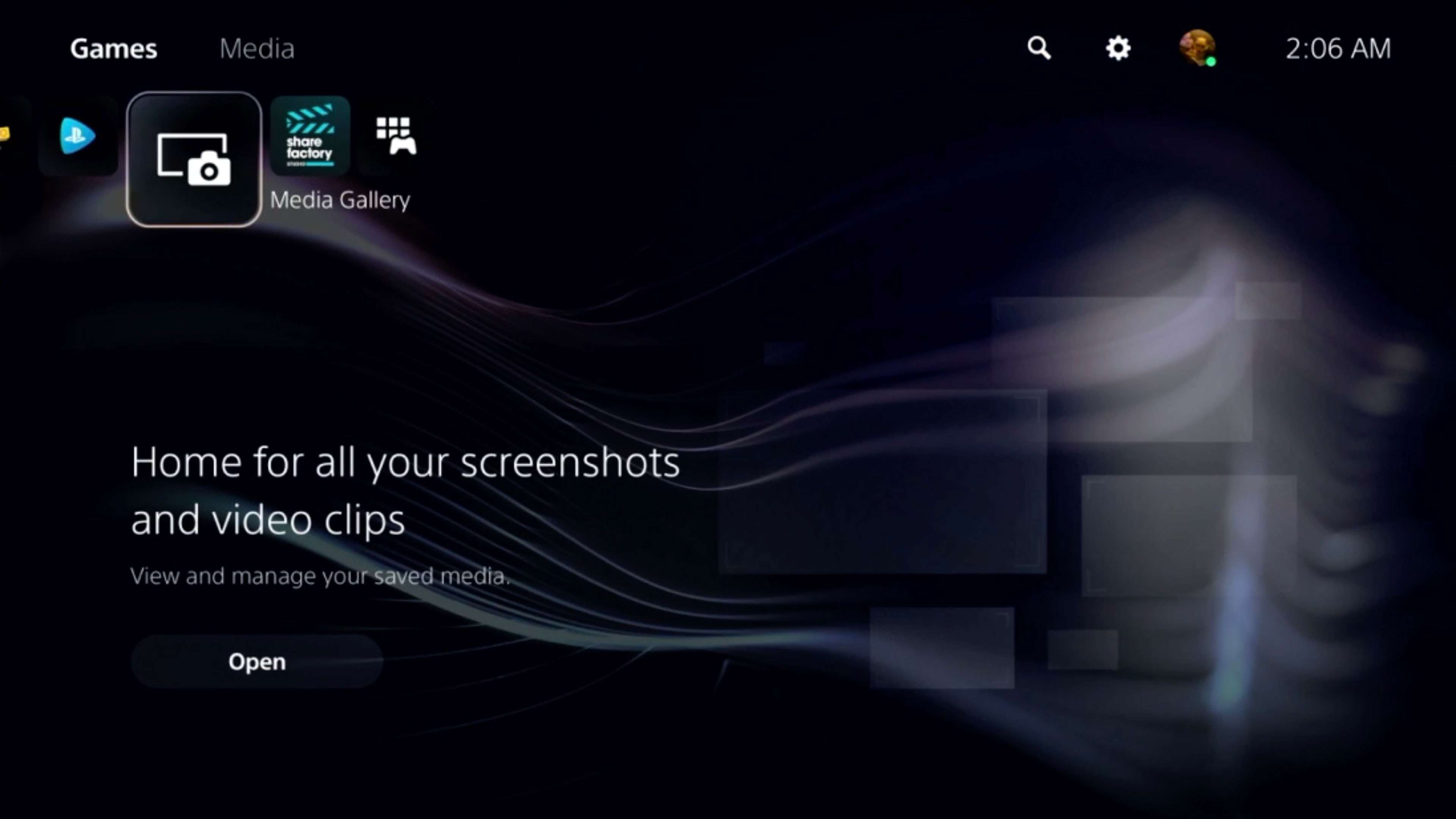 Media Gallery on the PS5 Home screen