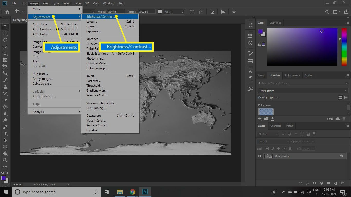 The Photoshop Image menu with Adjustments and Brightness/Contrast highlighted