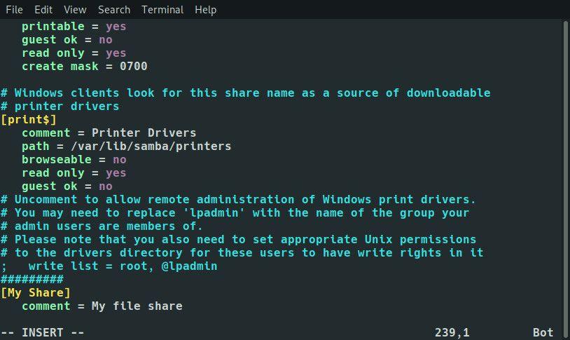 Raspberry Pi Samba share comment