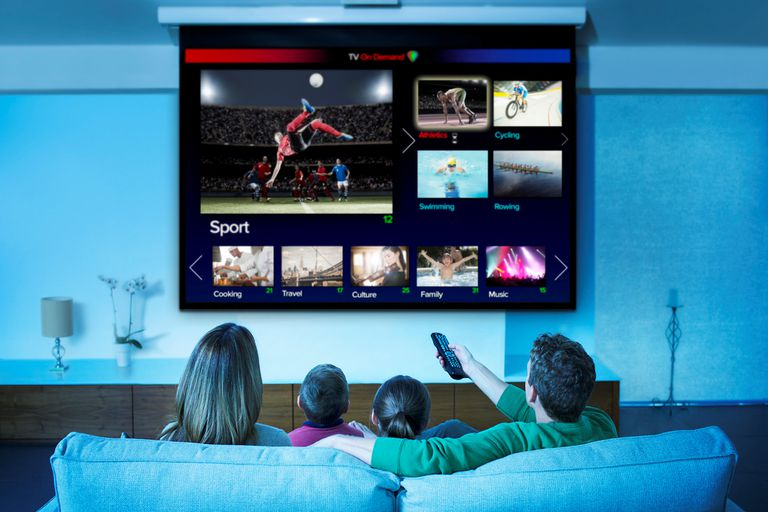 Family watching sports on home theater