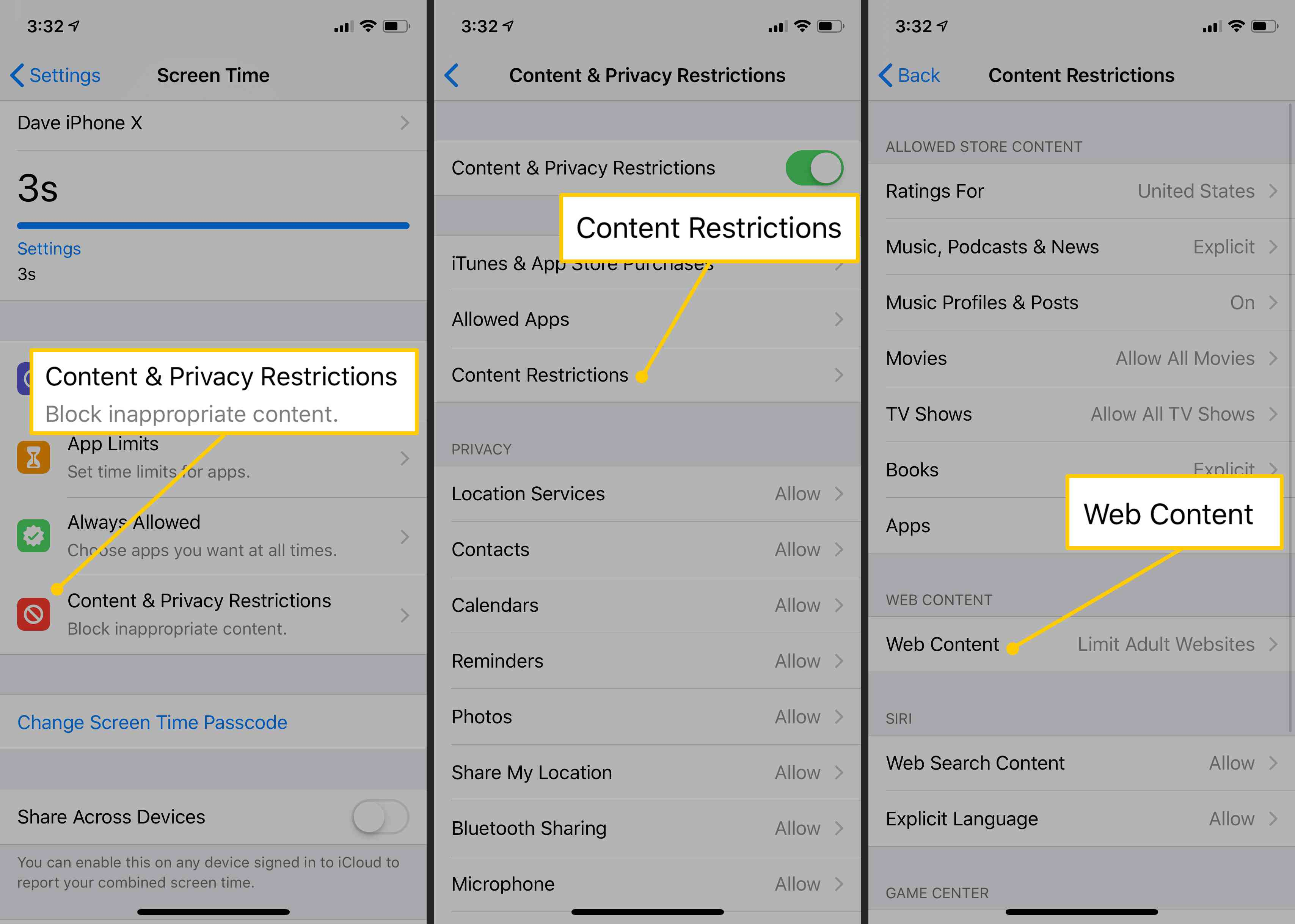 Content & Privacy Restrictions, Content Restrictions, Web Content on iOS