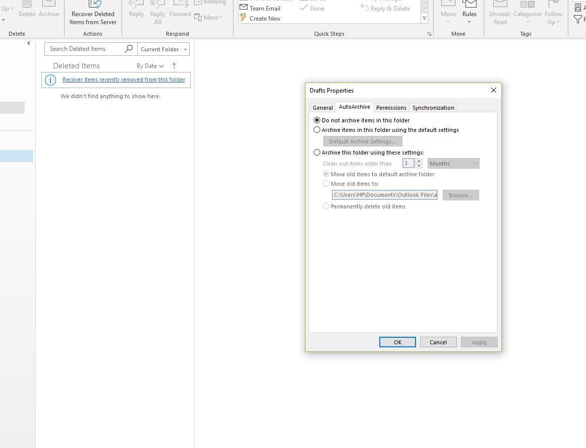 Screenshot of AutoArchive tab of folder properties