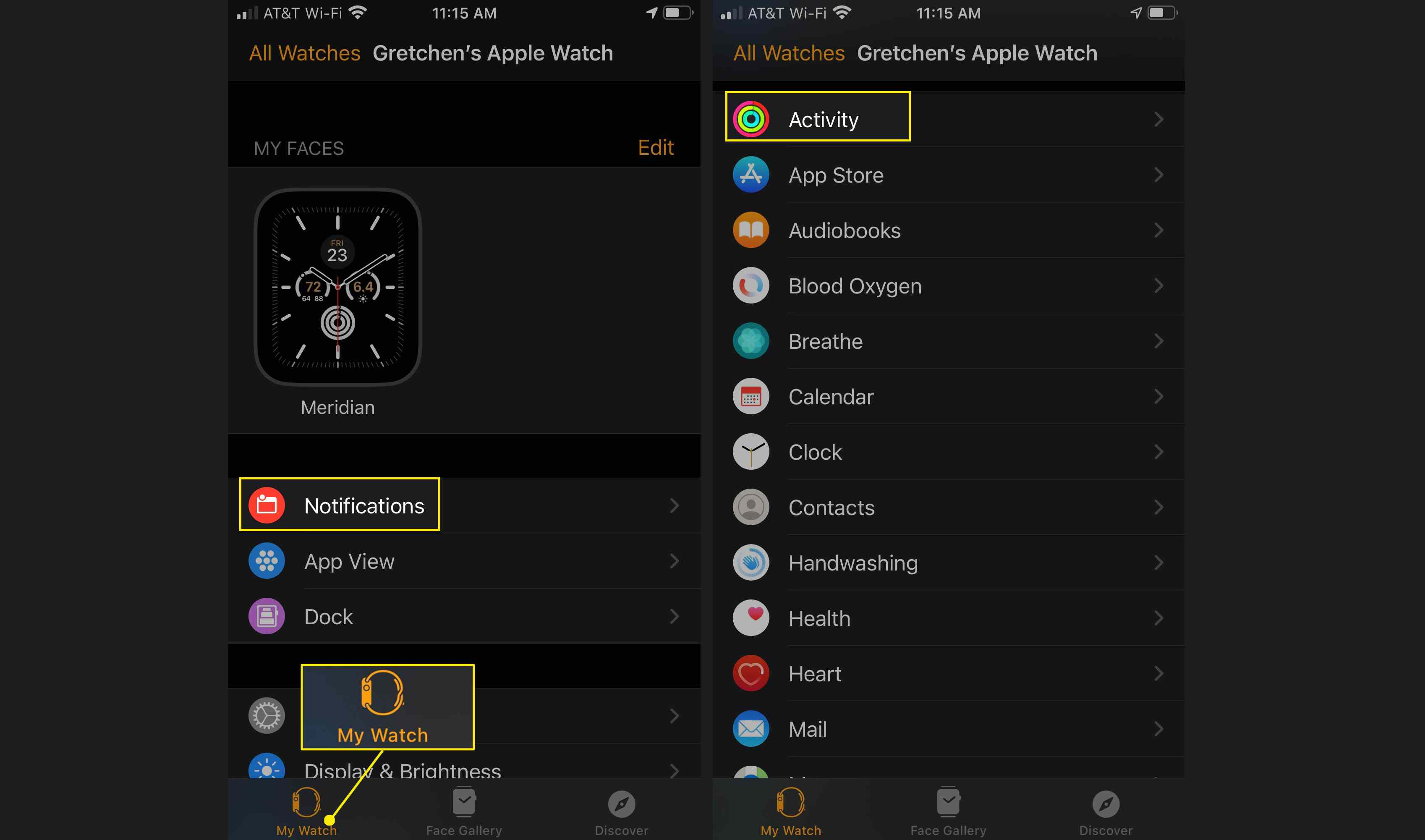 Launch the Watch app Activity section