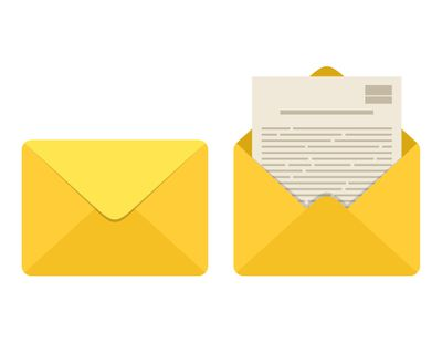 Opened and closed envelope with note paper card isolated on white background. Mail icon. Emailing and communication. Template design for social network, web or mobile app