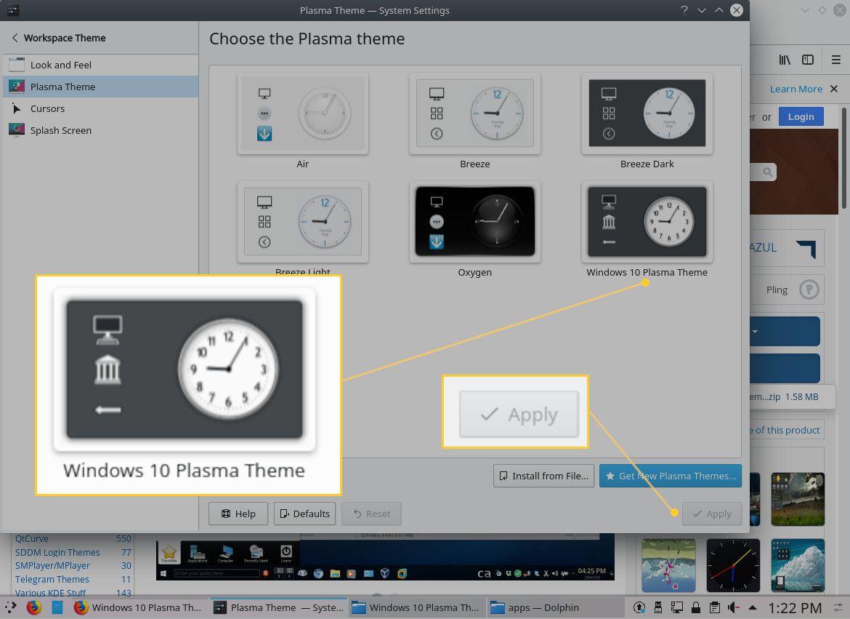 Screenshot of applying the new theme.