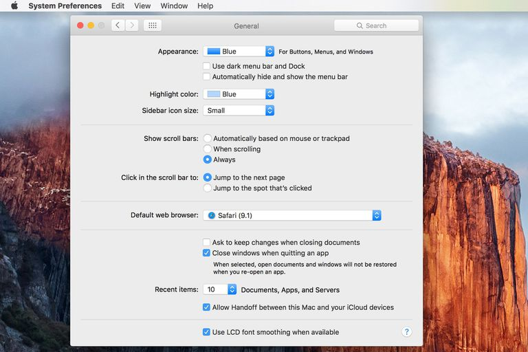 Mac General Preference Pane screenshot