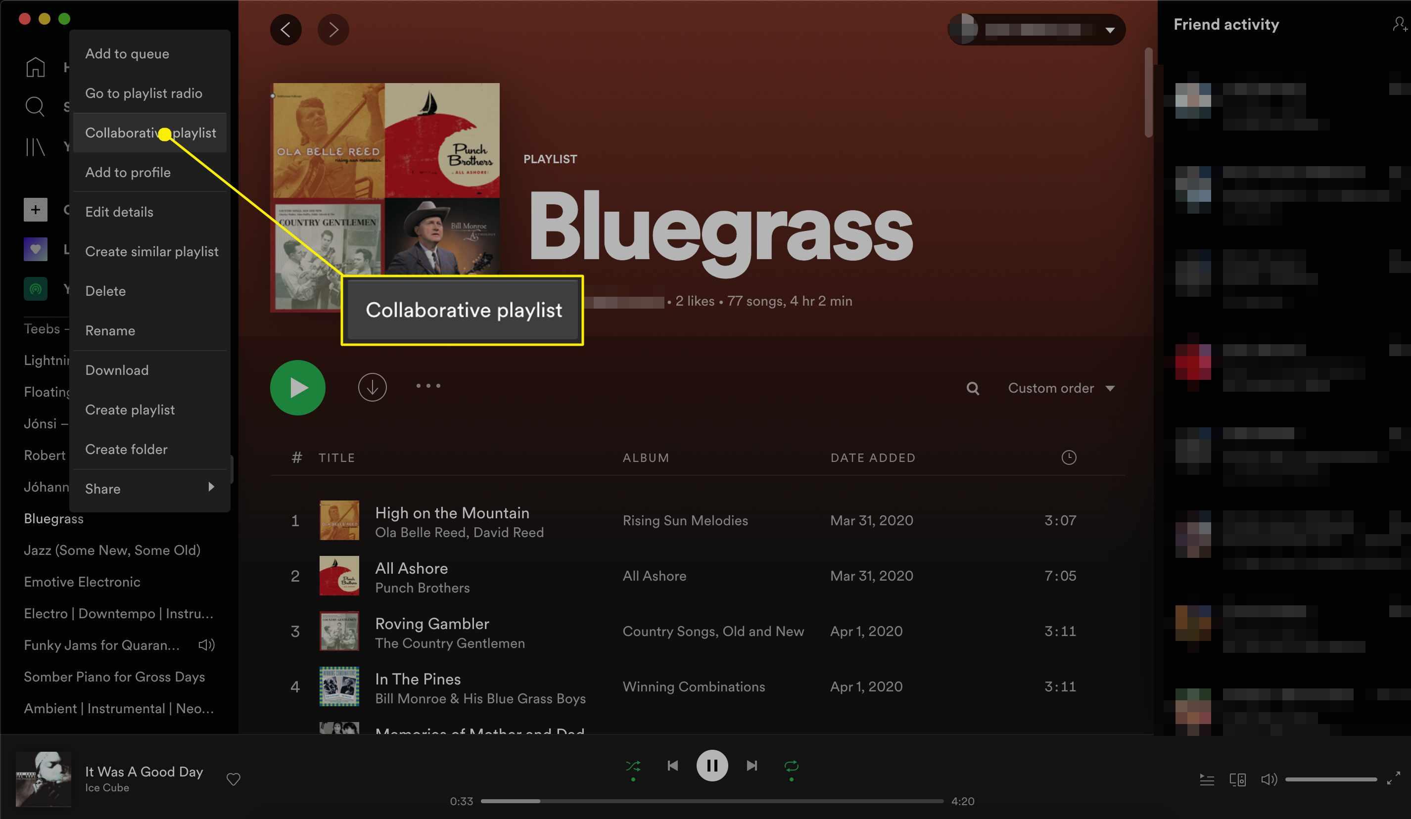 Spotify playlist make collaborative