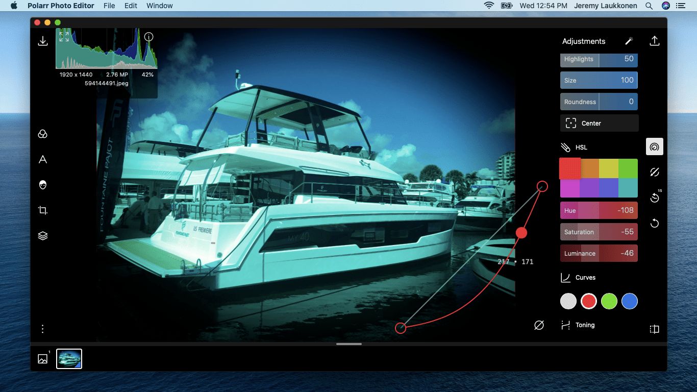 A screenshot of the Polarr photo editor on macOS.