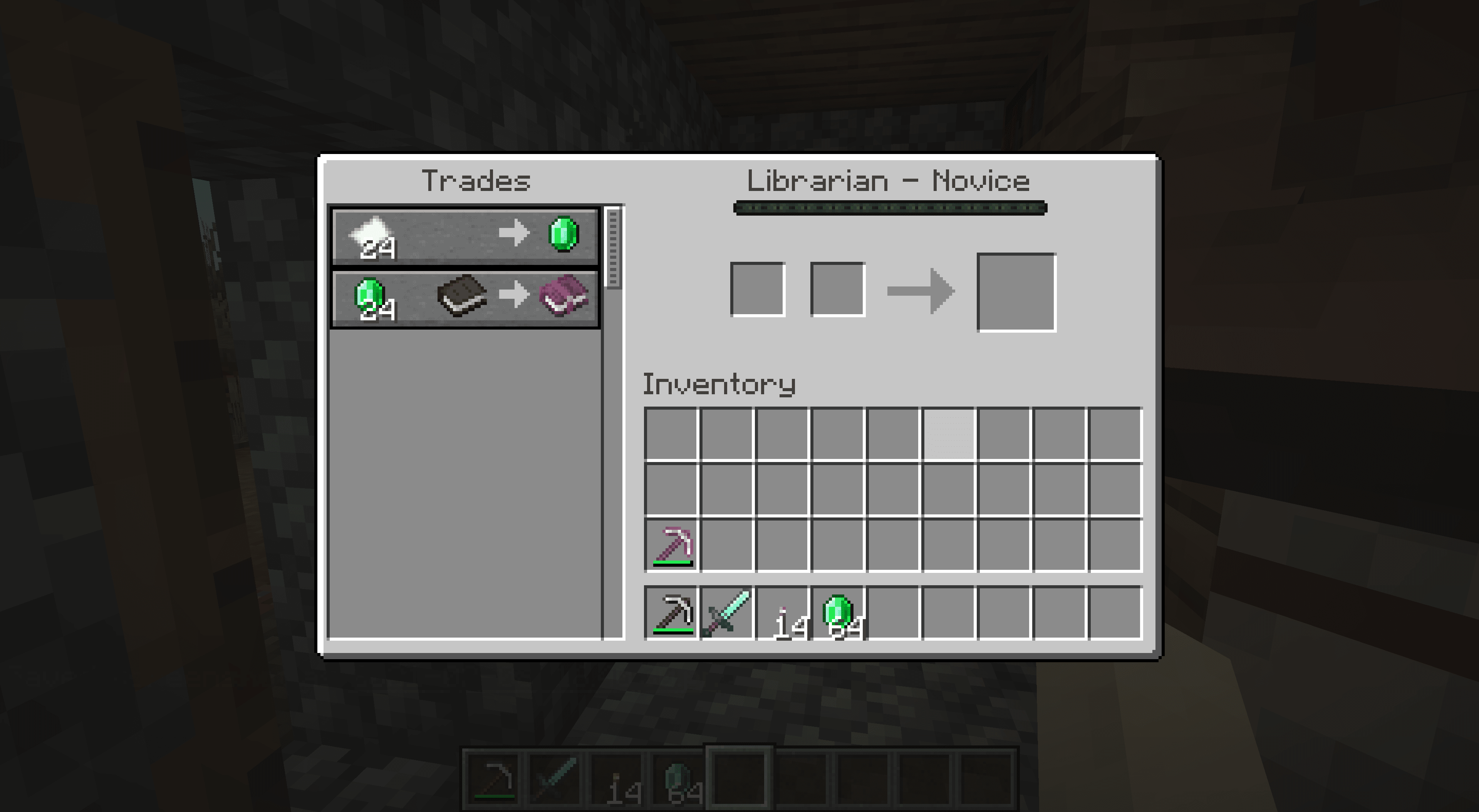 Trading with a librarian in Minecraft.