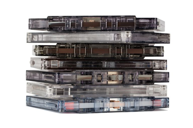 A stack of audio casette tapes