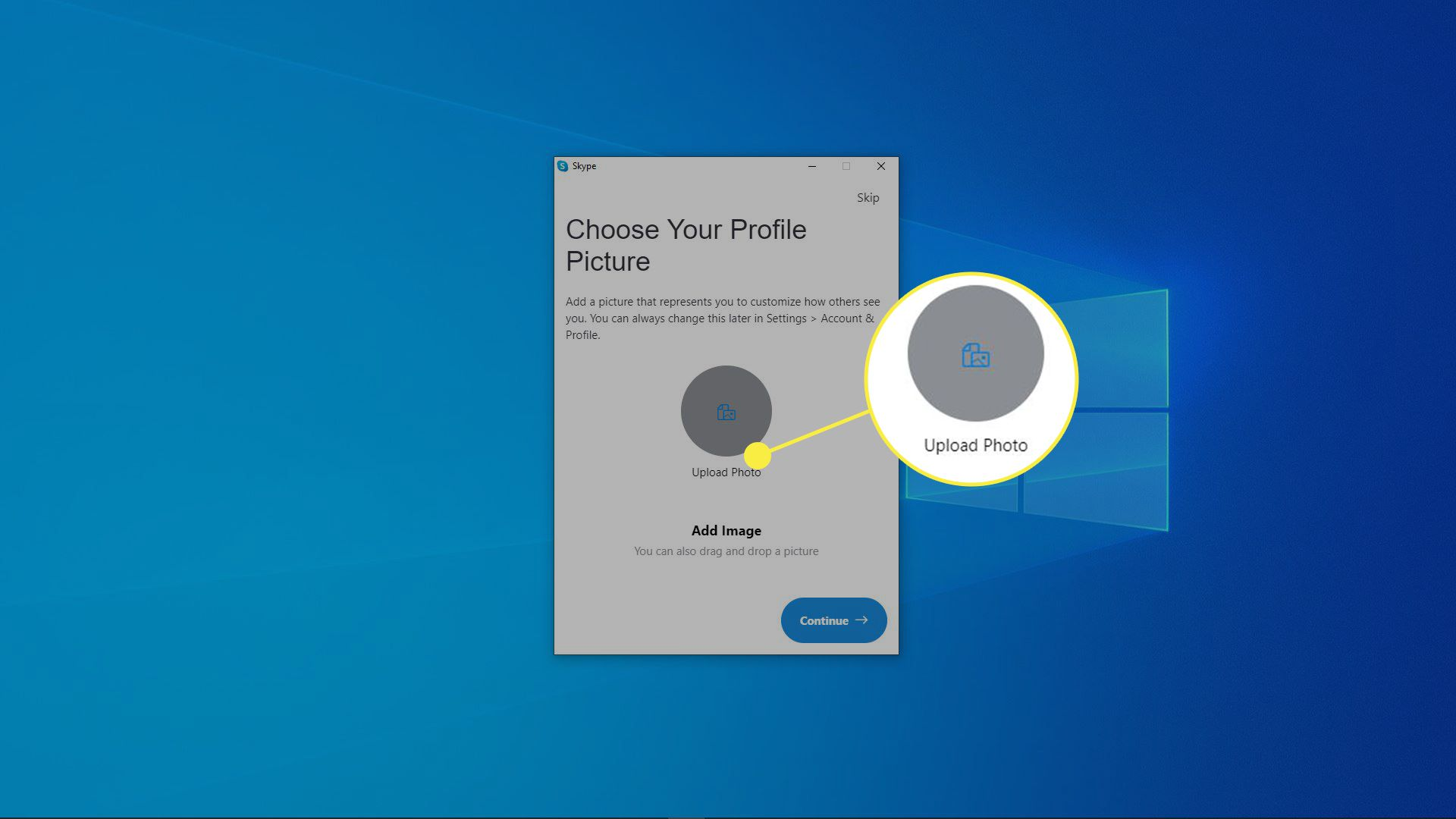 A screenshot of Skype profile picture selection.