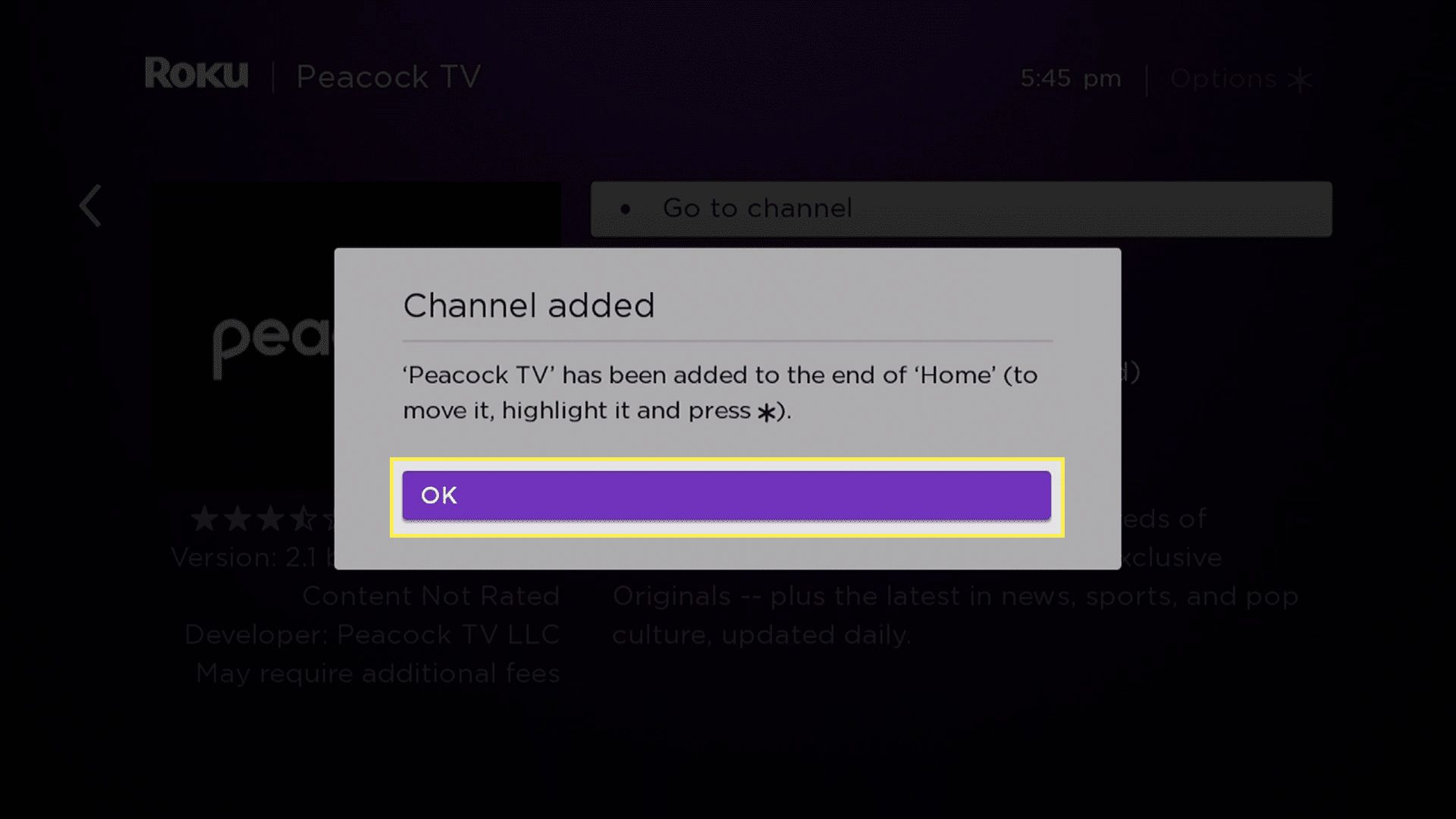 OK highlighted on the channel added alert on Roku TV.