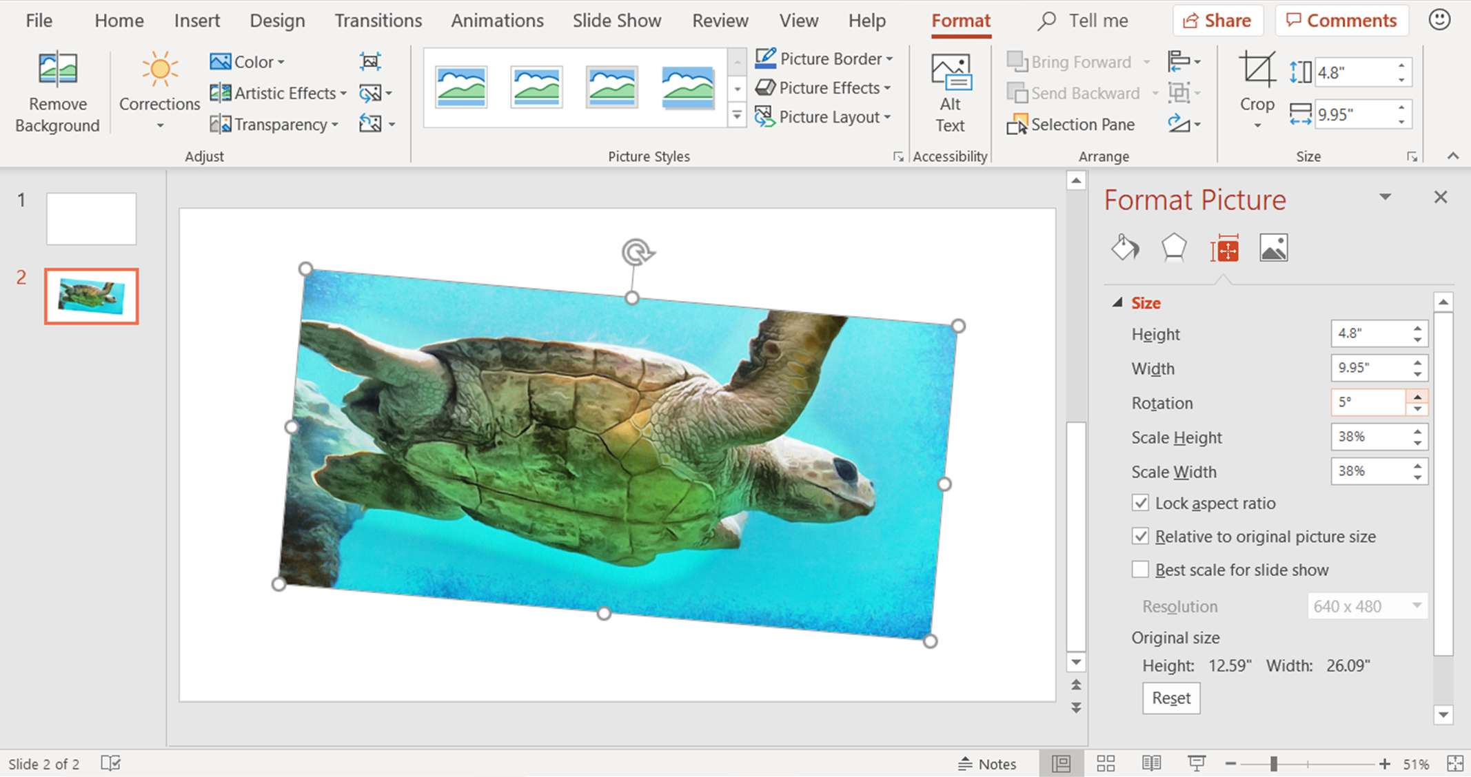 A screenshot showing how to rotate a picture by a specific angle in PowerPoint