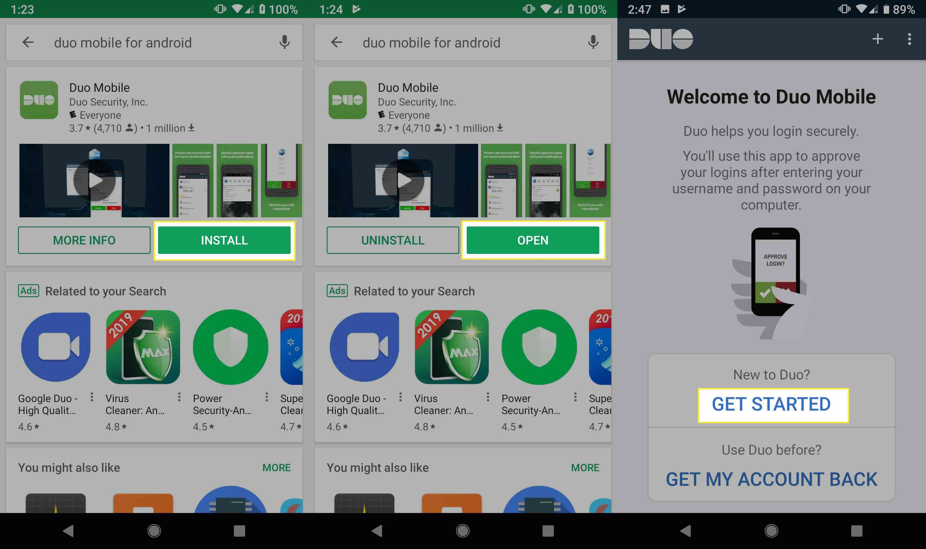 Download and install the Duo Mobile Android app