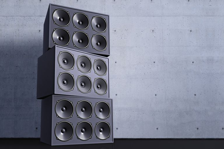 Three 6 by 2 subwoofer speakers stacked