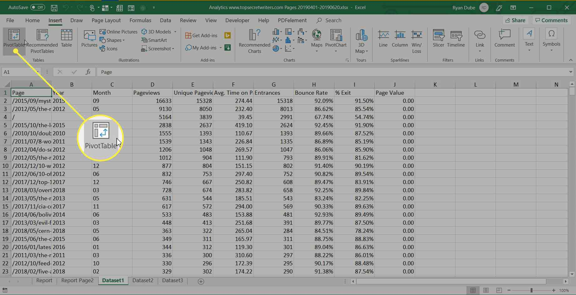 selecting Pivot Table in Excel