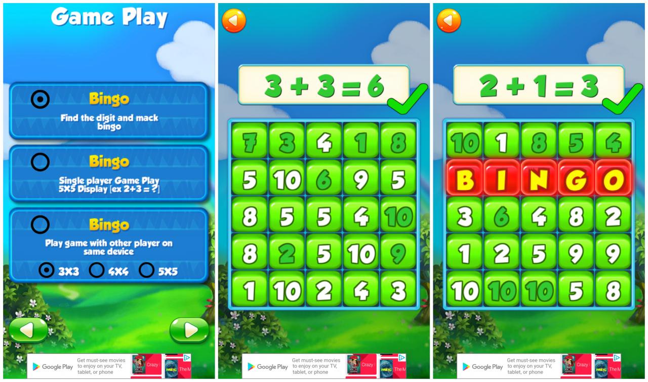 Screenshot of playing Math Bingo