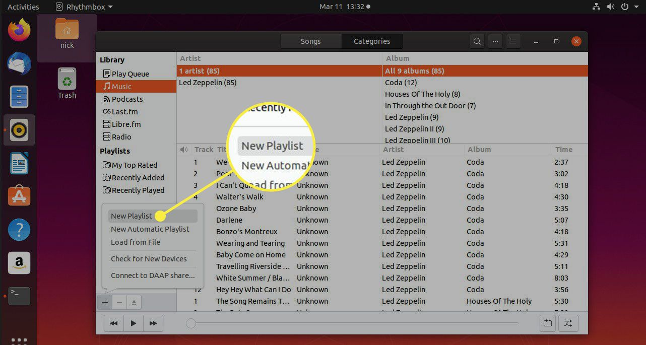 A screenshot of Rhythmbox with the New Playlist command highlighted