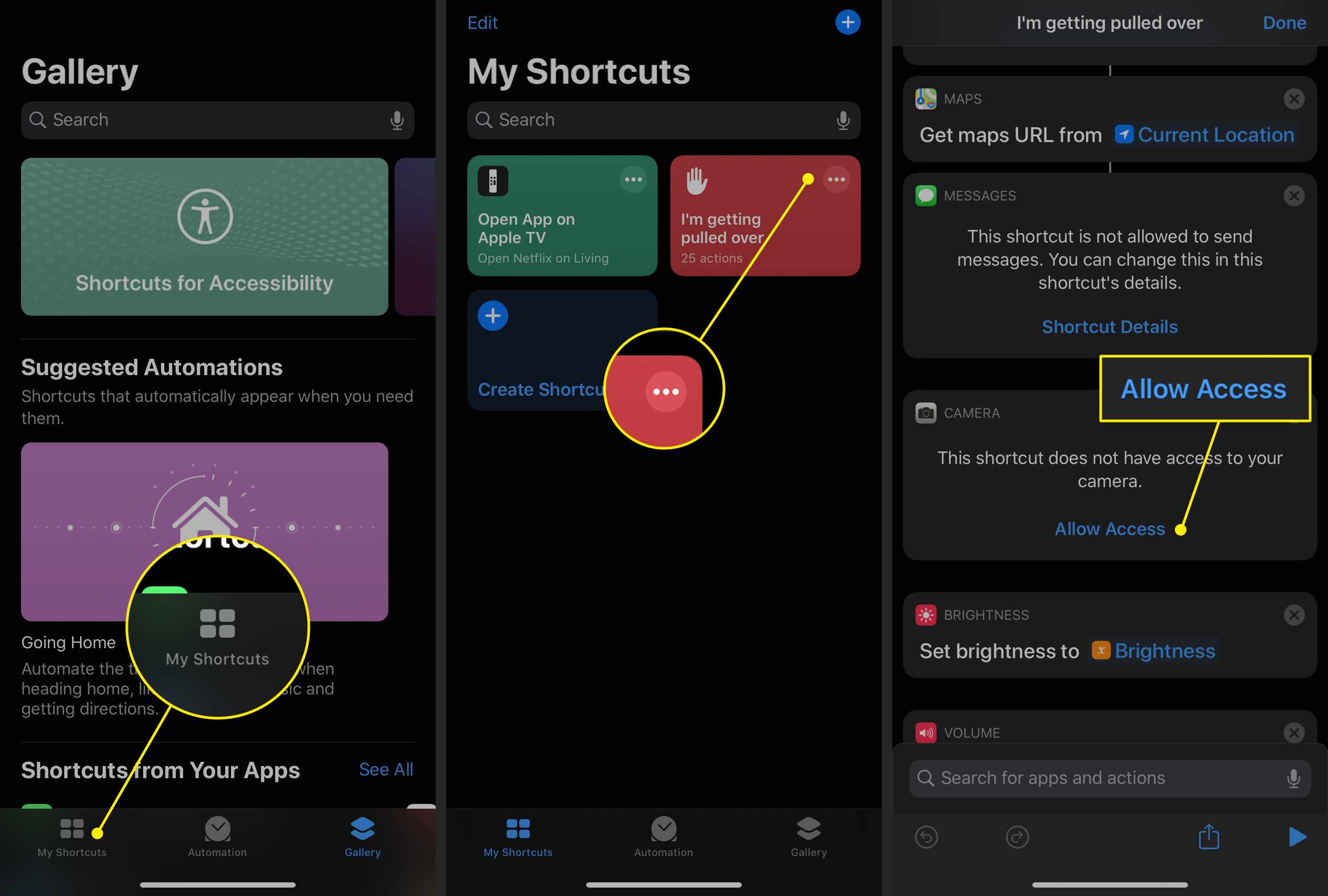 Allowing access to the Shortcuts app