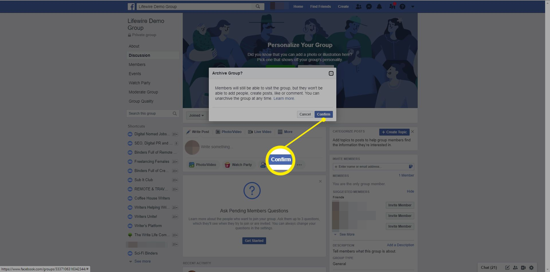 Confirming archiving a Facebook group.