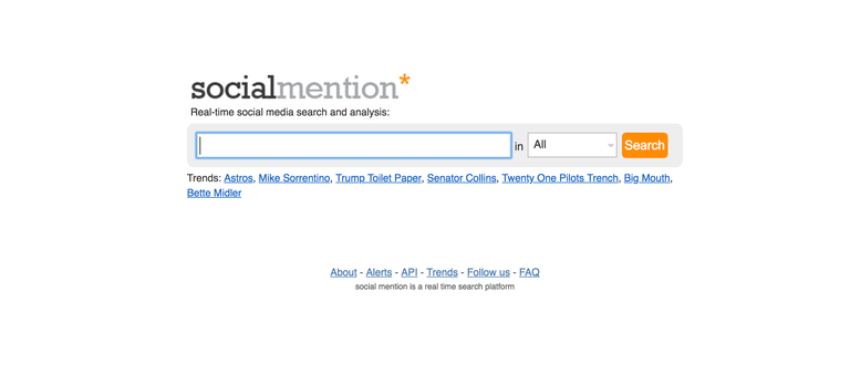 Screenshot of the homepage of socialmention.com
