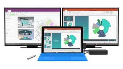 Microsoft Surface Pro connected to two monitors with a Surface Dock