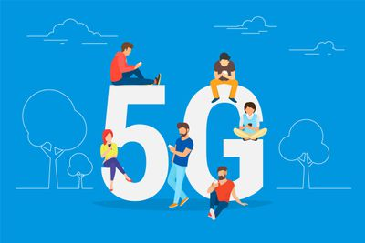 "Illustration of people using smartphones on top of ""5G"""
