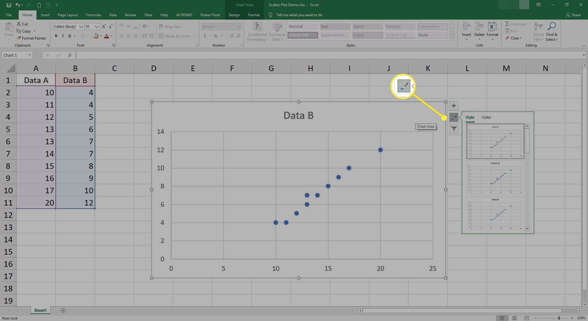 Changing colors and styles of the scatter plot in Excel.