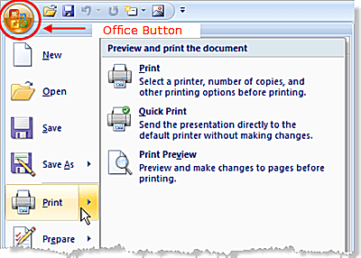 Print options in PowerPoint 2007