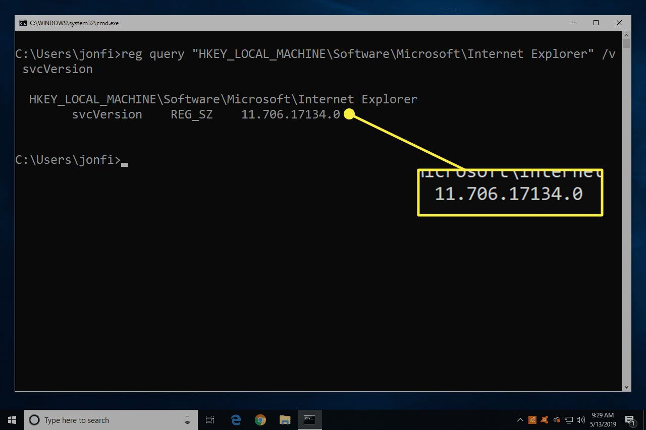 A screenshot of Command Prompt in Windows with the version number of Internet Explorer highlighted