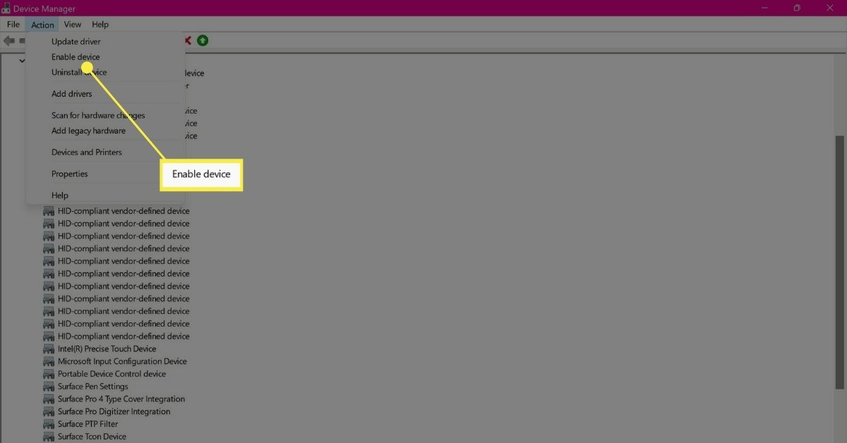 Enable Device in Device Manager Action Menu