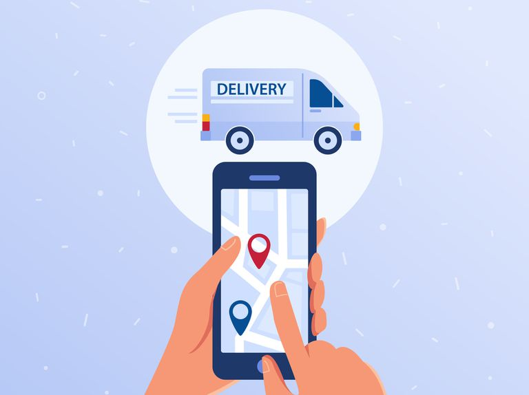 Someone ordering a delivery service on a smartphone.