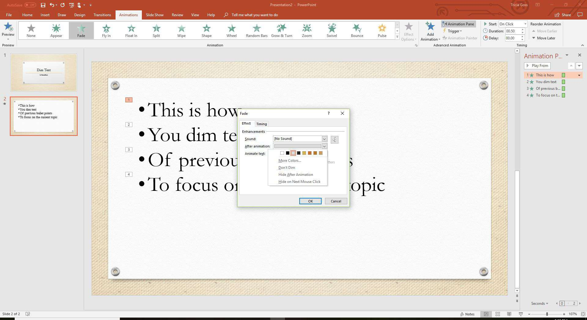 A screenshot of PowerPoint showing how to dim text.