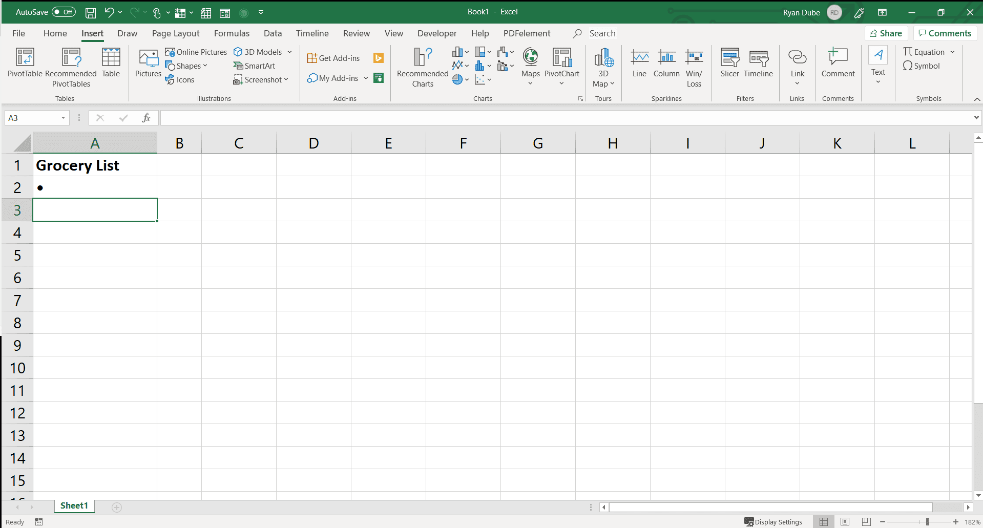 Screenshot of an inserted bullet point in Excel