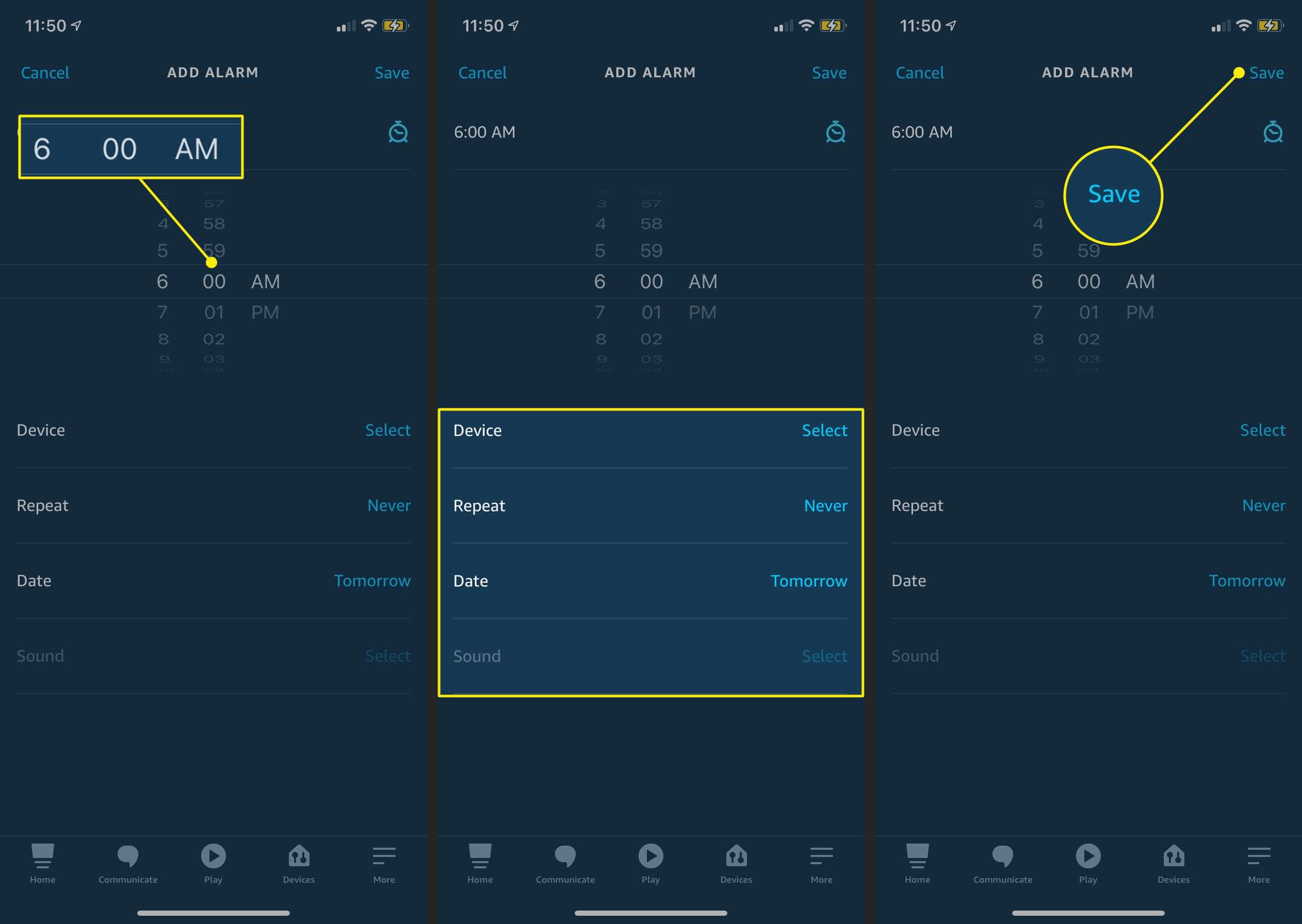 Creating an alarm in the Alexa iOS app