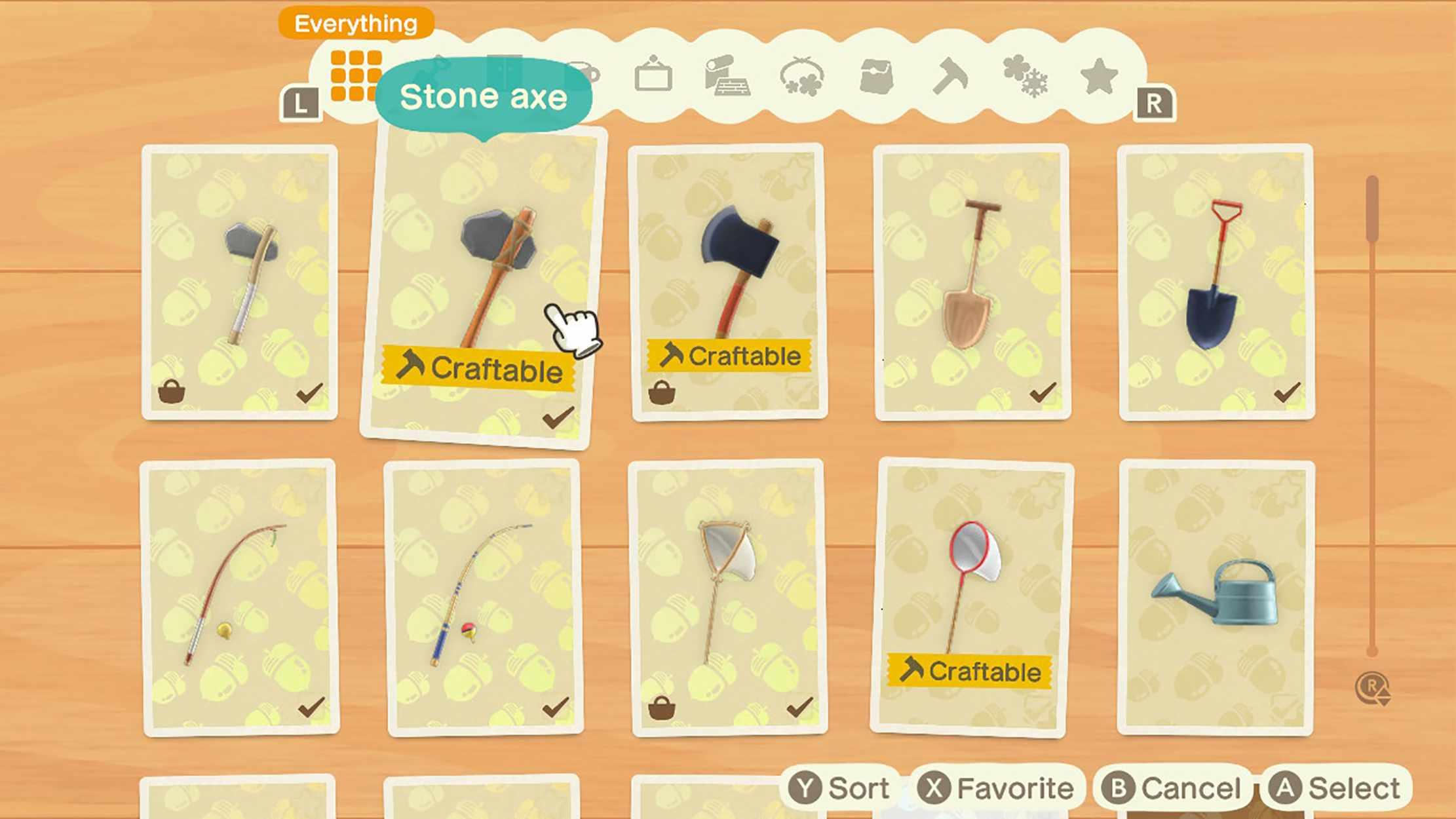 Screenshot of recipes in Animal Crossing