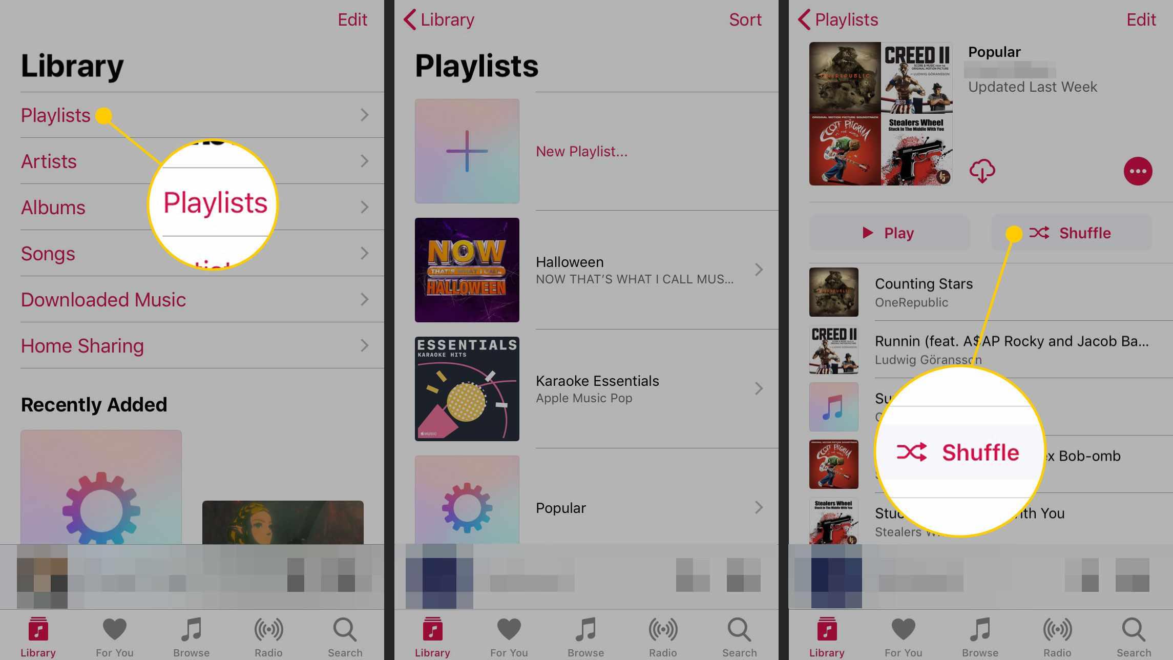 Shuffling a playlist on iPhone