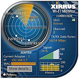 Screenshot of the Windows 7 Xirrus Wi-Fi Monitor gadget