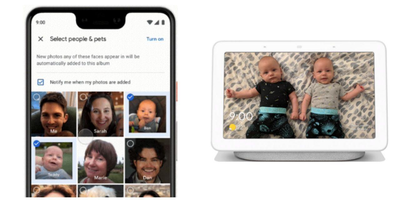 Live Albums' facial recognition shown beside a Google Home Hub